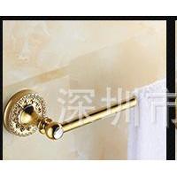 全铜杆欧式镶钻镀金色浴巾架套装毛巾杆双杆马桶刷 浴室置物架