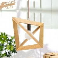 一件代发现代简约创意个性贝司达木艺吊灯客厅餐厅实木三角灯具